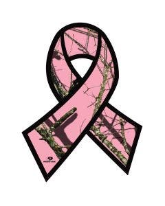 Mossy Oak® Break-Up Pink Camo Breast Cancer Awareness Ribbon Decal