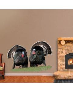 Pair of Strutting Merriam Wild Turkeys - Cutout